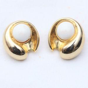 """80's Vintage """"KATIE"""" Fancy Gold  Clip On Earrings"""